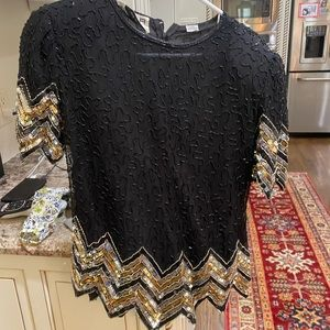 Scala brand Vintage sequin/beaded silk top s euc!!
